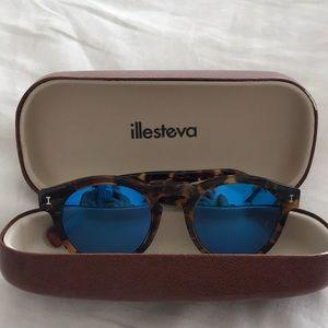 Blue mirrored illesteva sunglasses